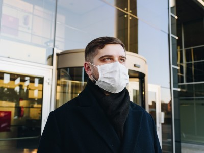 Masked worker - COVID-19